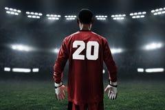 Portero del fútbol en el campo Fotos de archivo