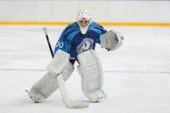 Portero del hockey listo para coger el duende malicioso Imágenes de archivo libres de regalías
