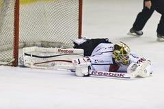 Portero del hockey sobre hielo Foto de archivo