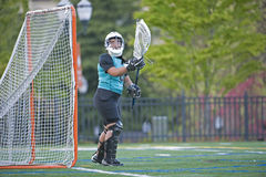 Portero del lacrosse de las muchachas Foto de archivo libre de regalías