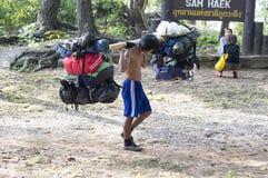 Portero en el rastro de Phu Kradueng Fotos de archivo libres de regalías