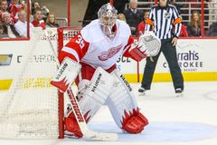 Portero Jimmy Howard de los Detroit Red Wings Foto de archivo