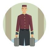 Portero que lleva una maleta, diseño plano Foto de archivo libre de regalías