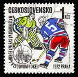 Portero y huelguista, mundo y europeo Championsh del hockey sobre hielo foto de archivo libre de regalías
