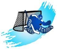 Portero y meta del hockey. Fotografía de archivo