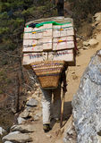 Porters carry heavy load in the Himalaya Royalty Free Stock Photos