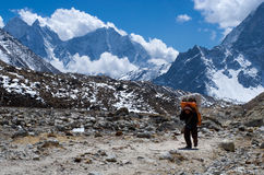 Porters carry heavy load in the Himalaya Royalty Free Stock Image