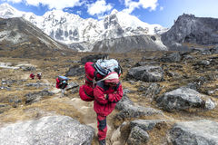 Porters with heavy load after crossing Cho La Pass in Himalayas. Royalty Free Stock Image
