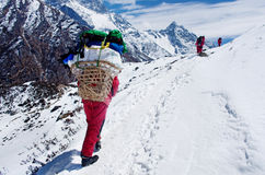 Porters with heavy load,  Nepal Royalty Free Stock Image