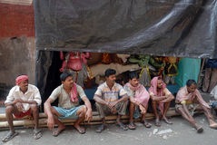 Porters of Kumartuli. Stock Photos