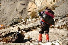 Porters on Morena Camp. Chopicalqui Peak - Cordiliera Blanca - Peru Royalty Free Stock Image