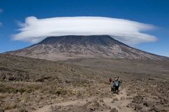 Porters on the Saddle Kilimanjaro Royalty Free Stock Images