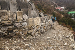 Porters in the village of Pangboche Stock Photography