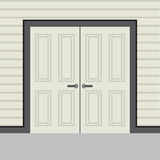 Portes à deux battants en bois de conception plate Photo stock