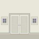Portes à deux battants en bois de conception plate Photographie stock