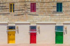 Portes colorées Marsaxlokk Photos libres de droits