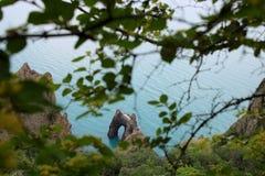 Portes d'or de secteur de volcan de la Crimée Kara-Dag photographie stock libre de droits