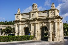 Portes de Bombes near Floriana. Just outside Valletta is thee region of Floriana, This can be entered by the Portes de Bombes which was built by the Knights of Royalty Free Stock Photo