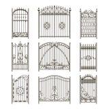 Portes de fer avec les éléments décoratifs Photos monochromes de vecteur réglées Photographie stock libre de droits