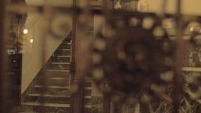 Portes de fer travaillé avec la tête de lion banque de vidéos