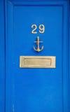 Portes en bois bleues Images libres de droits