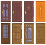 Portes en bois intérieures et avant classiques - vecteur illustration stock