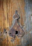 Portes en bois très vieilles avec la serrure de porte rouillée de vintage dans peu commun formé comme l'église de dôme Fond grung photographie stock libre de droits