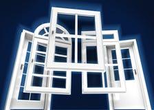 Portes et catalogue de fenêtres, bleu Image stock