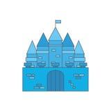 Portes et drapeau bleus de château Photo stock