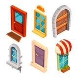 Portes et fenêtres isométriques illustration libre de droits
