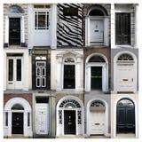 Portes noires et blanches Photographie stock
