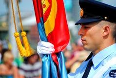 Porteur d'indicateur de l'Armée de l'Air au défilé de jour de l'Australie Images stock