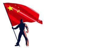 Porteur de drapeau Chine illustration stock