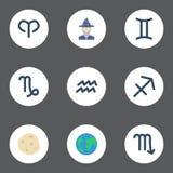 Porteur plat de l'eau d'icônes, comète, chèvre et d'autres éléments de vecteur L'ensemble de symboles plats d'icônes inclut égale Photos stock
