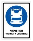 Portez le signe ?lev? de symbole d'habillement de visibilit?, illustration de vecteur, d'isolement sur le label blanc de fond EPS illustration libre de droits