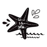 Portez-moi à la mer Dirigez les vacances inspirées et voyagez citation avec seastar, vague dans la copie noire d'été de couleur Photographie stock libre de droits
