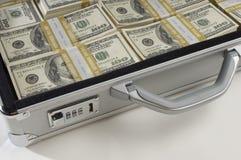 Portfölj mycket av pengar arkivbilder