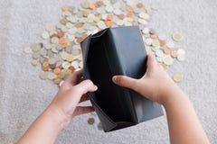 Portfel bez pieniądze i monety tła Obrazy Royalty Free