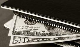 Portfel, kieszeniowy pieniądze, dolary Obrazy Royalty Free