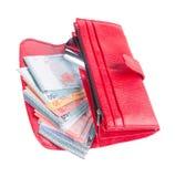 Portfel. kobieta portfel z pieniądze na tle Fotografia Royalty Free