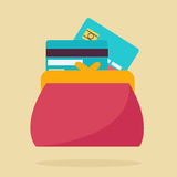 Portfel lub kiesa z kredytowymi kartami Fotografia Stock