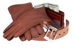 Portfel, pieniądze, pasek i rękawiczki, obraz stock