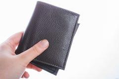 Portfel w ręka finanse i oszczędzania pojęciu fotografia stock