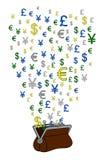 Portfel waluta Obrazy Stock