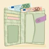 Portfel z 50 i 100 Euro rachunkami Obraz Royalty Free