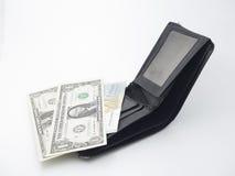 Portfel z papierowego pieniądze i złota bransoletką Obraz Stock