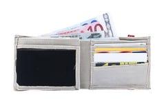 Portfel z pieniądze i kartami Obraz Royalty Free