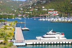 Portflotta i Tortola som är karibisk Fotografering för Bildbyråer
