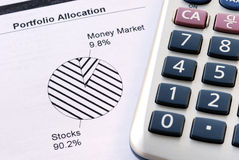Portfolio allocation. Illustrates the asset in a pie chart Stock Images