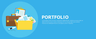 Portfolio banner. Folder with files, briefcase, pen. Vector flat illustration Stock Photos